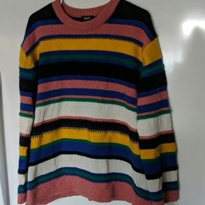 Rainbow Striped Pullover Sweater Long Sleeve XL